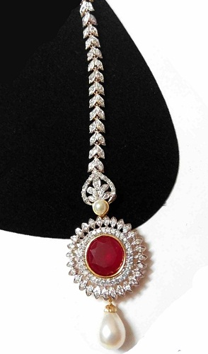 Diamond Maang Tikka with Pearl Drop