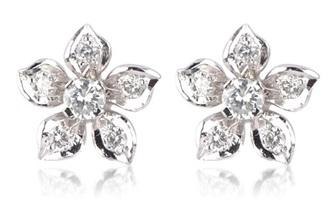 Diamond Studded Flower Earring