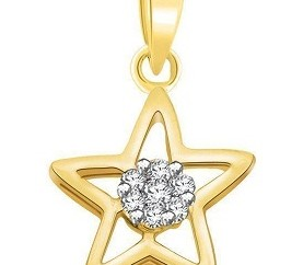 Diamond Studded Star Gold Pendant