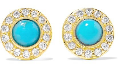 Diamond Studded Turquoise Earring