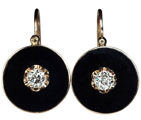 Disc look dangle earrings
