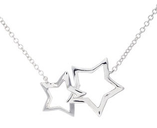 Double Star Pendant Necklace in Silver
