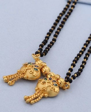 Double Strand Black bead Designed Chain with Two Vati