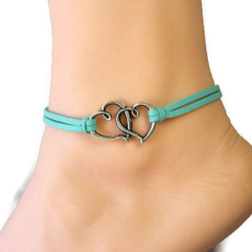 Double heart leather anklet