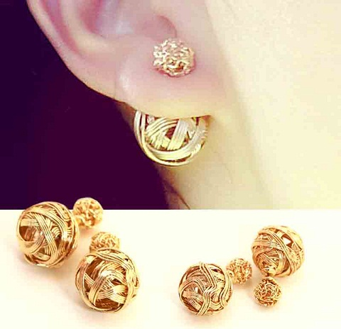 Double sides small gold nuts earrings