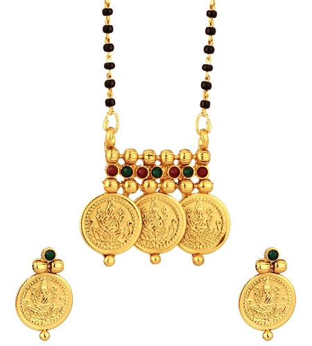 Double string lakshmi coined mangalsutra set