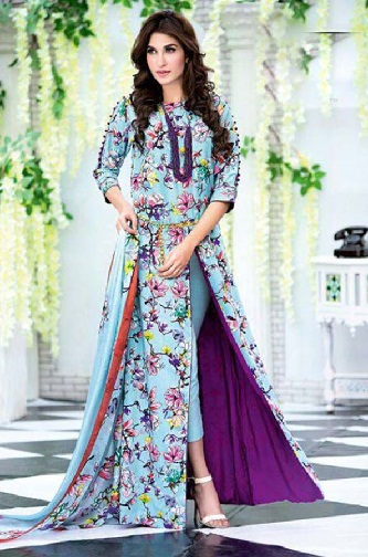 Embroidered ankle length high ankle salwar suit