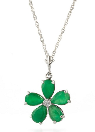 Emerald white gold pendant