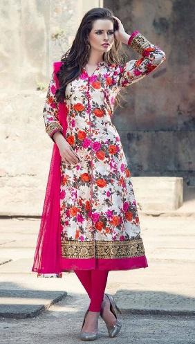 Ethnic floral print mid cut salwar suit