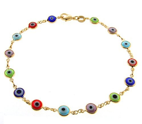 Fancy Gold Plated Multicolour Gemstone Anklets