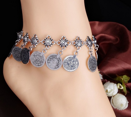 Fancy Silver Metal Coins Anklets for Girls