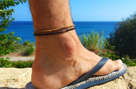 Fancy Twin Beaded Gemstone Anklets for Men