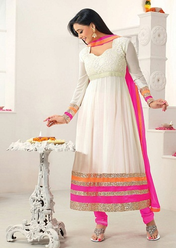 Faux Georgette White Salwar Suit