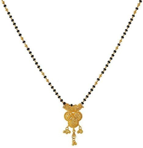 Filigree designed Pendant with bead Gold Chain