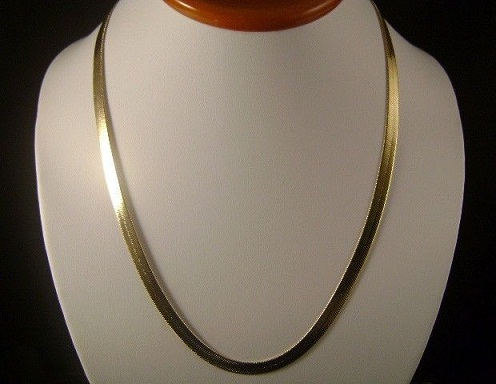 Flat and Plain 18k Gold Chain