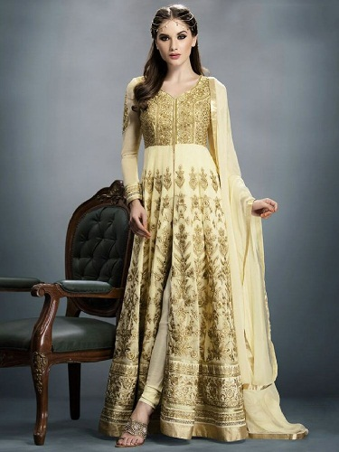 Floor length Gold Salwar Suit
