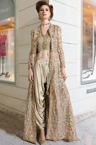 Floor length designed salwar coat with dhoti pant