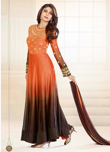 Floor length designer straight cut salwar suit