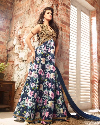 Floor length floral print designer suit