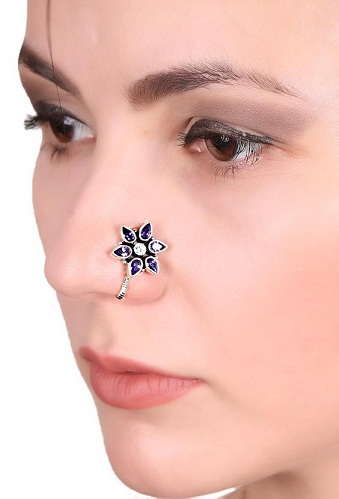 Floral Clip on Nose Pin
