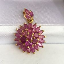 Floral Cluster Ruby Pendant