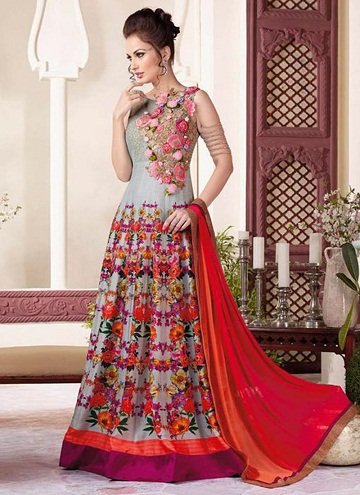 Floral design net salwarsuitannarkali floor length