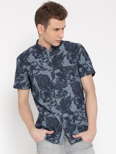 Floral embossed denim shirts for men