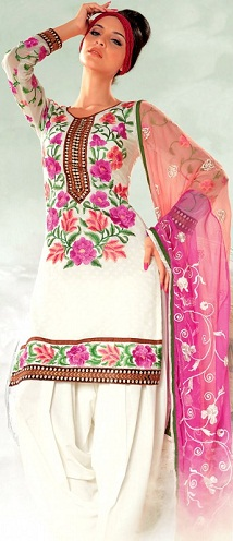 Floral embroidered salwar suit
