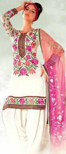 Floral embroidered salwar suit