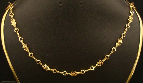 Floral gold plated chain