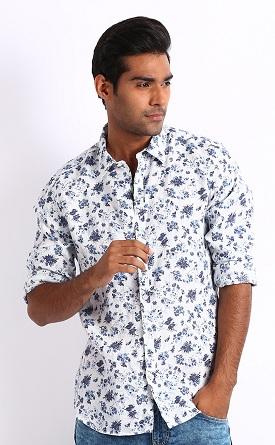 Floral print white shirt