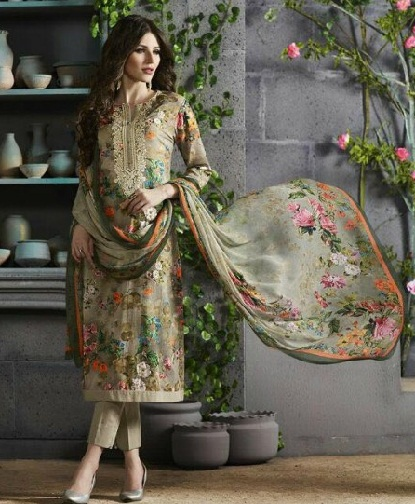 French voil floral print party salwarkameez