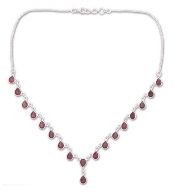 Garnet waterfall necklace