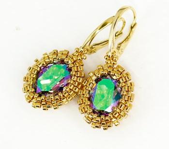 Gemstone drop earrings
