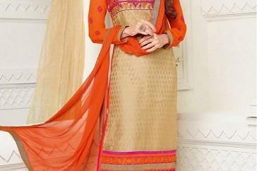 Georgette color combination orange salwar suit