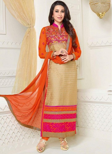 Georgette color combination orange salwar suit