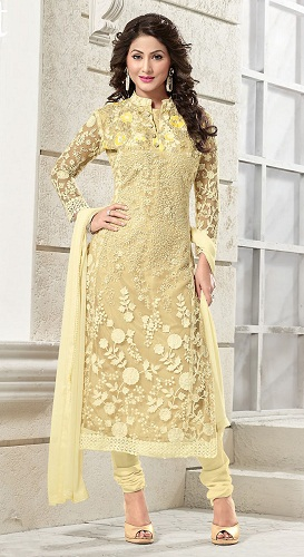 Gold Churidar Salwar Suit