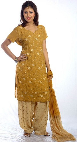 Gold Cotton Salwar Suit