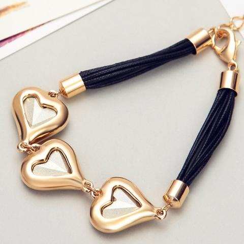 Gold Heart Bracelet with Black String