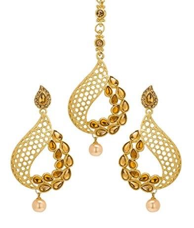 Gold Maang Tikka and Earring Sets