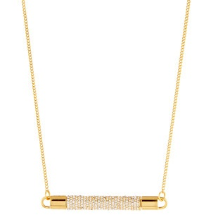 Gold Necklace with Crystal studded Bar Necklace