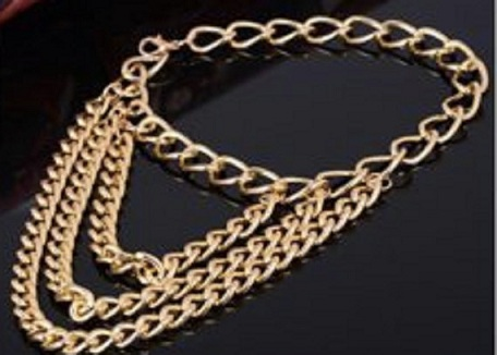Gold Plated Three Tier Chain Anklets