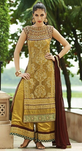 gold salwar suits