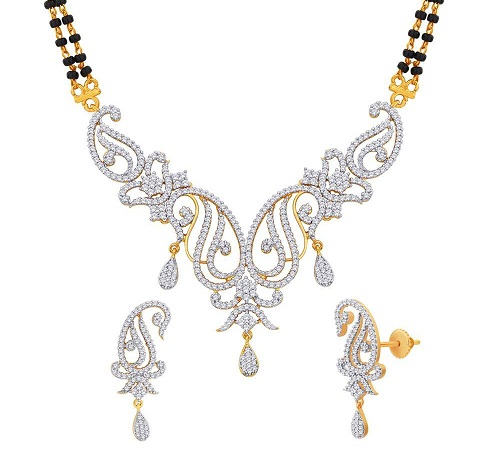 Gold and rhodium plated mangalsutra set