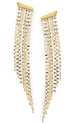 Gold long bridal fringe ear duster earrings