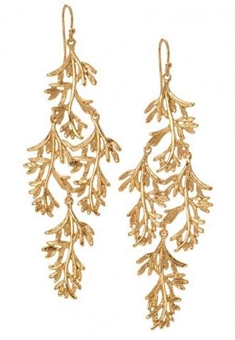 Gold long chandeliers earrings