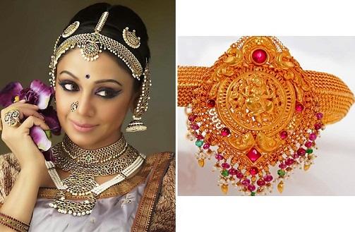 Gold plated temple jewelry Bharathanatiyam Set