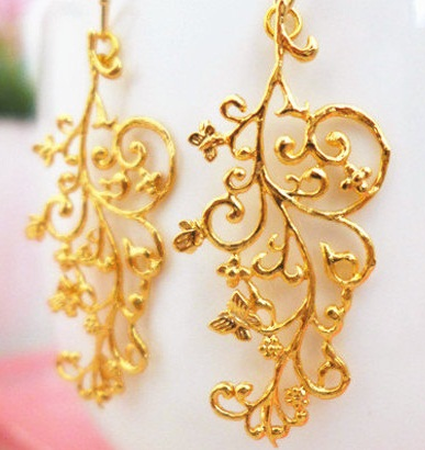Gold Veil Bridal Earrings