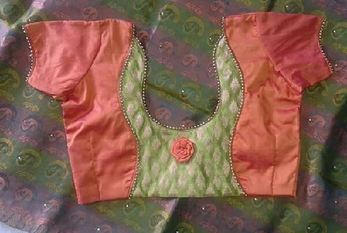 Golden Bead with Patchwork blouse design -16