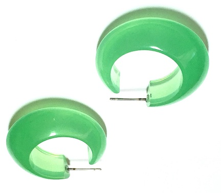 Green Hoops Earring